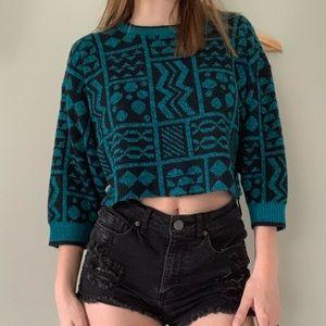 Vintage funky teal & black shapes cropped sweater